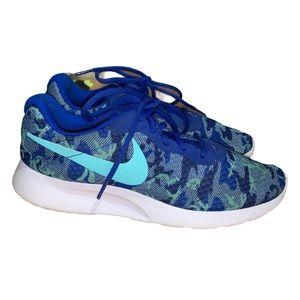 Nike Tanjun Blue Camo Women's Running Shoe sz 10